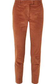 Cropped stretch-cotton corduroy tapered pants