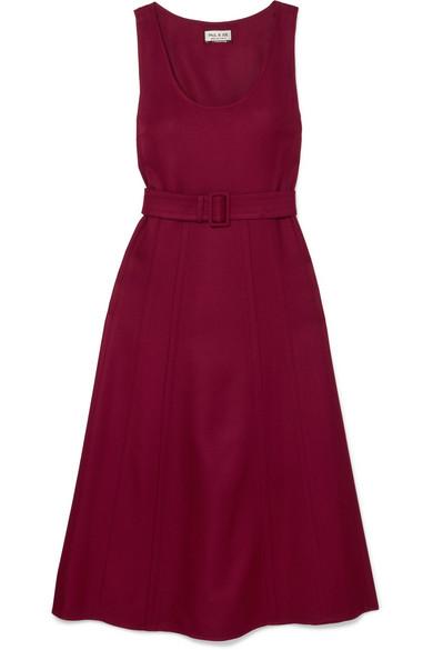Paul & Joe - Belted Wool-blend Twill Midi Dress - Burgundy
