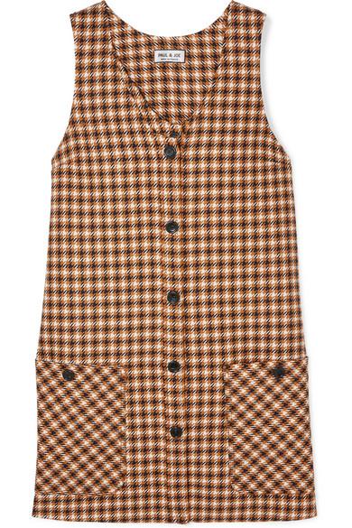 PAUL & JOE Baydere Houndstooth Wool Mini Dress in Brown