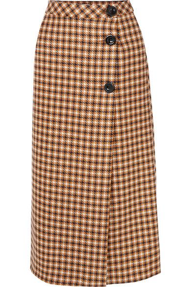 PAUL & JOE Cameron Houndstooth Wool Midi Skirt in Brown