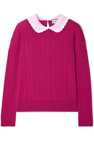 PAUL & JOE Cable-Knit Wool Sweater in Plum