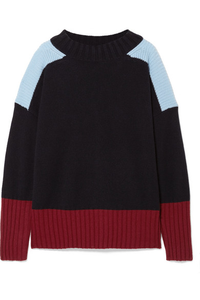 CHINTI & PARKER Comfort Oversized Color-Block Cashmere Sweater in Midnight Blue