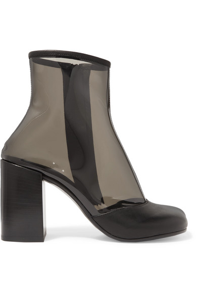 LEATHER-TRIMMED PVC ANKLE BOOTS from NET-A-PORTER