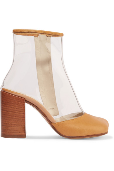 Leather-Trimmed Pvc Ankle Boots in Beige