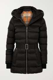 Hooded belted quilted shell down jacket