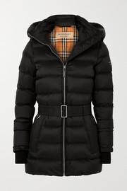 버버리 Burberry Hooded belted quilted shell down jacket