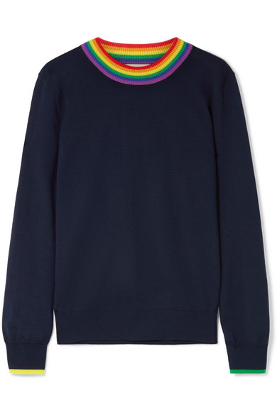 Long-Sleeve Rainbow-Neck Merino Wool Sweater, Navy
