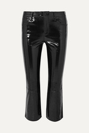 Selena cropped glossed-leather bootcut pants