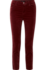 Ruby cropped cotton-blend velvet straight-leg pants