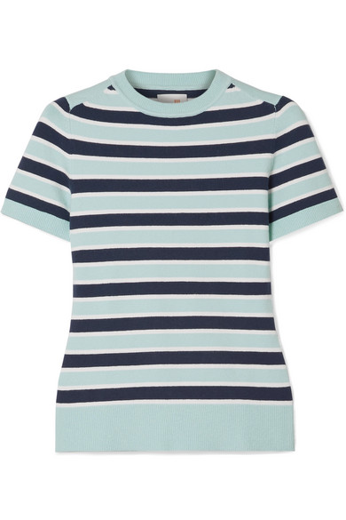 JOOSTRICOT Striped stretch cotton-blend sweater