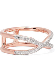 Riva Wave Cross rose gold vermeil diamond ring