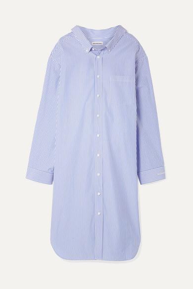 Oversized Striped Cotton-Poplin Dress in Blue