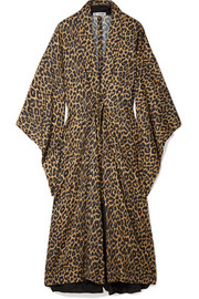 Balenciaga Layered leopard-print canvas and silk-jacquard midi dress