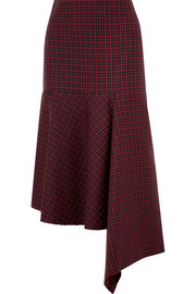 Balenciaga Asymmetric checked wool skirt