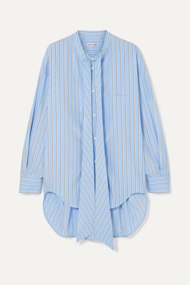 Oversized Printed Striped Cotton Poplin Shirt by Balenciaga