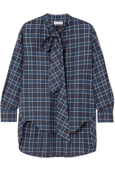 Gathered-Back Button-Front Plaid Cotton Shirt in Navy from LastCall.com