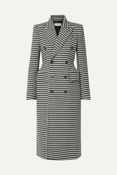 Double-Breasted Houndstooth Wool-Blend Coat in Black