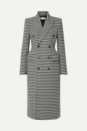 Balenciaga Double-breasted houndstooth wool-blend coat