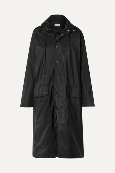 Opera Oversized Printed Reflective Shell Raincoat in Black