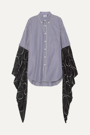Balenciaga Oversized striped cotton-poplin and printed silk-georgette shirt