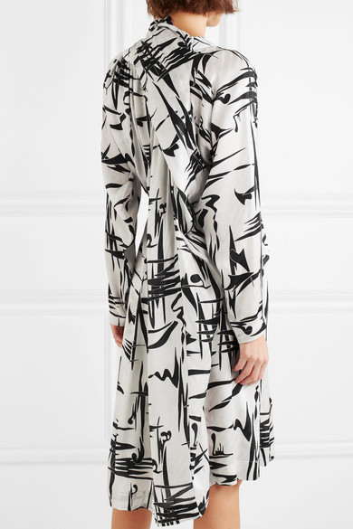 Gathered Printed Silk-jacquard Midi Dress - White Balenciaga Iwrdlv0zm