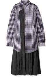 Layered polka-dot crepe and checked cotton-flannel midi dress