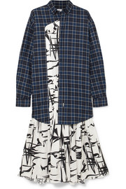 Balenciaga Layered silk-jacquard and checked cotton dress