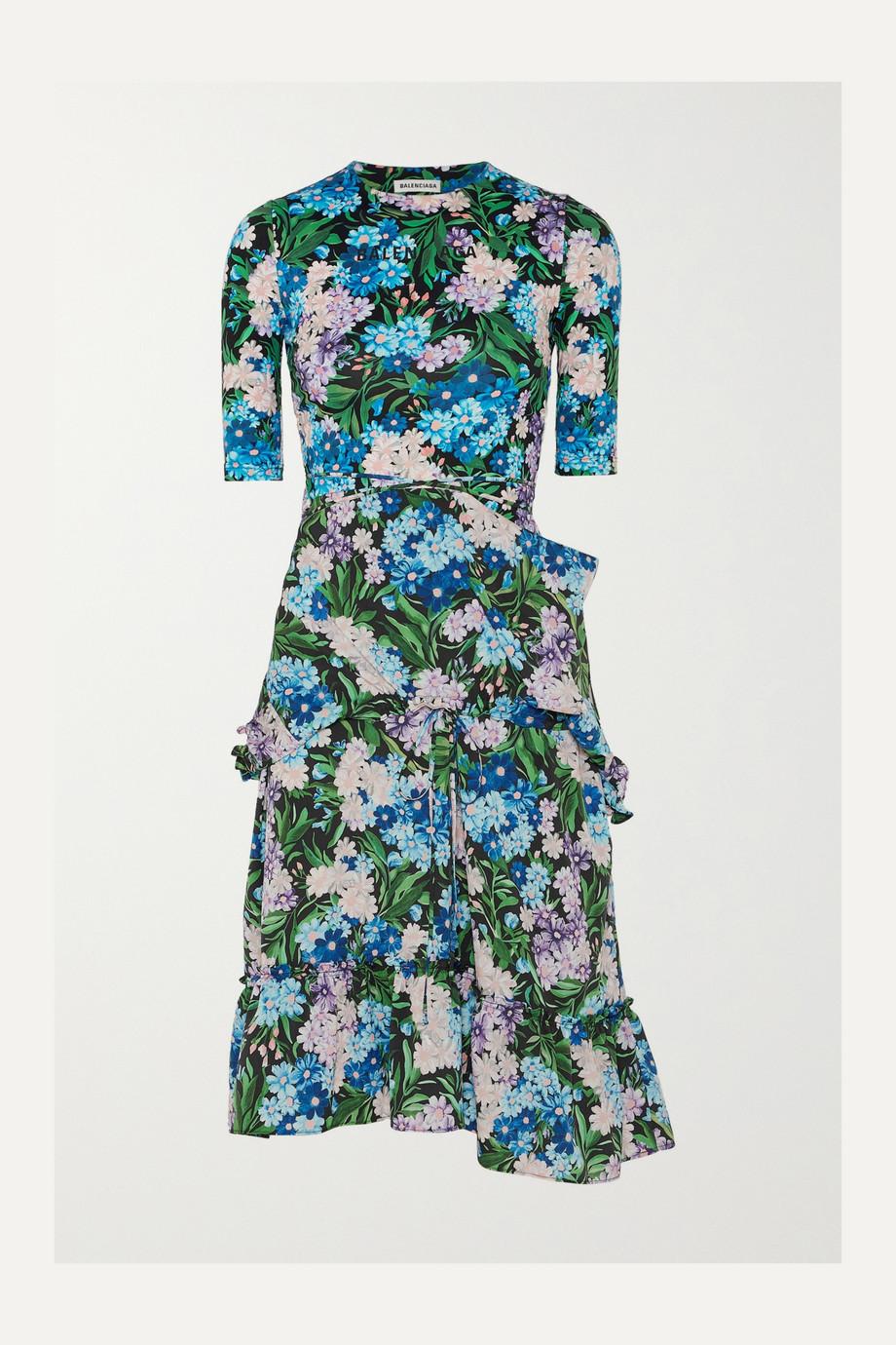 Balenciaga Robe en jersey et en crêpe à imprimé fleuri et à fronces