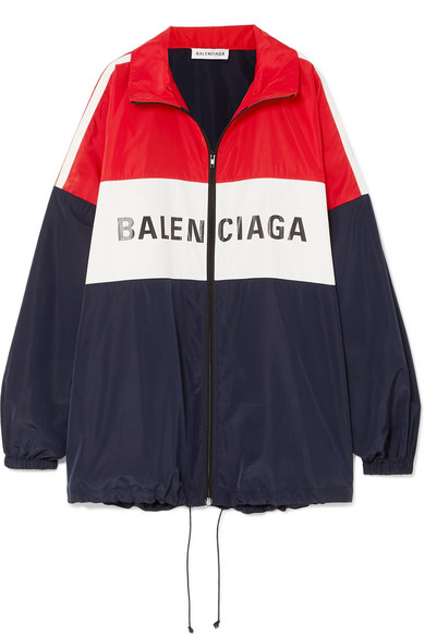 Oversized Color Block Printed Shell Jacket by Balenciaga