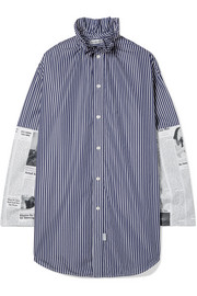 Balenciaga Oversized paneled cotton-poplin shirt