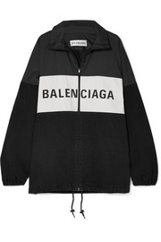 Balenciaga Oversized printed denim and shell jacket