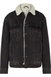 Balenciaga Faux shearling-trimmed denim jacket