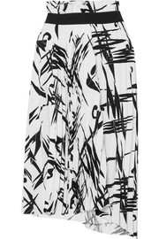 Balenciaga Asymmetric pleated printed cady midi skirt