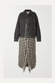 Balenciaga Layered quilted denim and fringed gingham wool jacket