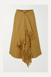 Balenciaga Fringed checked tweed midi skirt