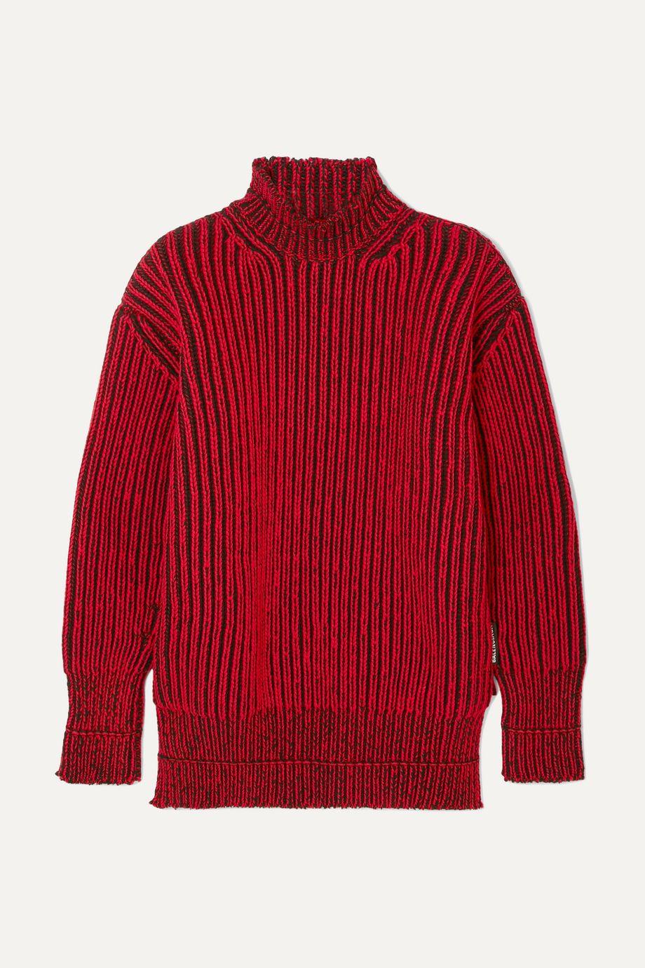 Balenciaga Oversized-Pullover aus gerippter Wolle mit Stehkragen