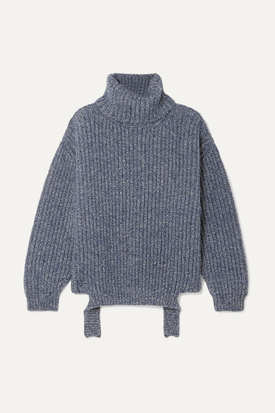 Ribbed Mélange Wool Turtleneck Sweater by Balenciaga