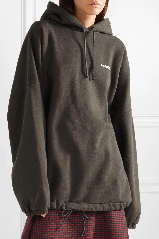 Balenciaga Oversized-Hoodie aus Fleece aus einer Baumwollmischung mit Stickerei