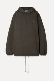Balenciaga Oversized embroidered cotton-blend fleece hooded top