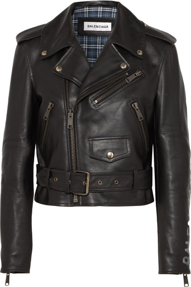 Cropped Printed Leather Biker Jacket in Black