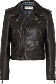 Balenciaga Cropped printed leather biker jacket