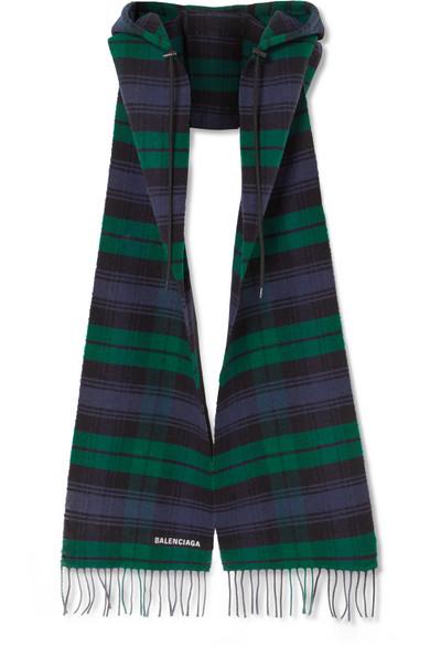 Balenciaga - Hooded Fringed Tartan Wool Scarf - Navy