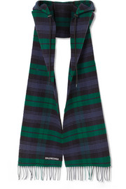 Balenciaga Hooded fringed tartan wool scarf