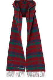 Balenciaga Fringed tartan wool hooded scarf