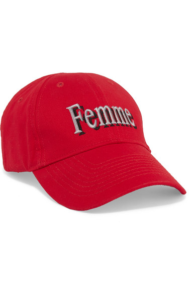 Embroidered Cotton-Canvas Baseball Cap in Red
