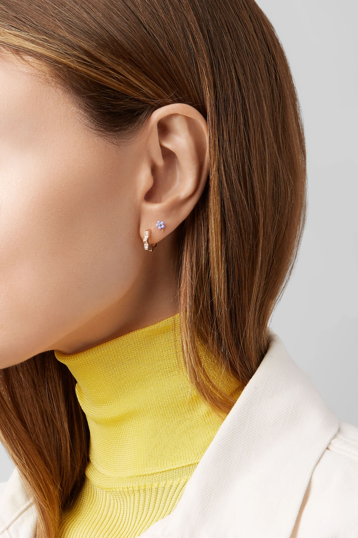 Alison Lou Tiny Flower 14-karat gold, diamond and enamel earring