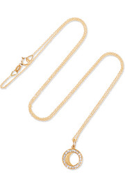 Waning Gibbous Moon 18-karat gold diamond necklace