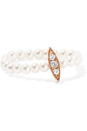14-karat rose gold, pearl and diamond ring