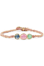 Triple Orbit 18-karat gold, emerald and sapphire bracelet