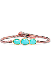 Brooke Gregson Triple Orbit 18-karat gold, sterling silver and turquoise bracelet